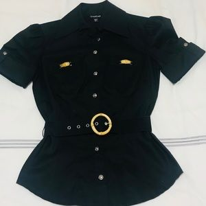 NWOT Bebe Black Blouse with Bamboo Accents